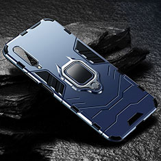 Silicone Matte Finish and Plastic Back Cover Case with Magnetic Finger Ring Stand for Huawei Y9s Blue