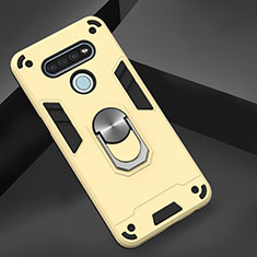 Silicone Matte Finish and Plastic Back Cover Case with Magnetic Finger Ring Stand for LG K51 Gold