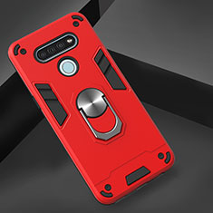 Silicone Matte Finish and Plastic Back Cover Case with Magnetic Finger Ring Stand for LG K51 Red