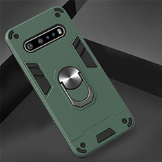 Silicone Matte Finish and Plastic Back Cover Case with Magnetic Finger Ring Stand for LG V60 ThinQ 5G Green