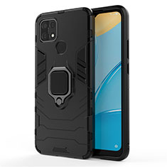 Silicone Matte Finish and Plastic Back Cover Case with Magnetic Finger Ring Stand for Oppo A15 Black