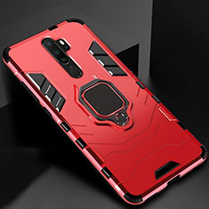 Silicone Matte Finish and Plastic Back Cover Case with Magnetic Finger Ring Stand for Oppo A5 (2020) Red