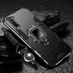 Silicone Matte Finish and Plastic Back Cover Case with Magnetic Finger Ring Stand for Oppo K7 5G Black