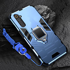 Silicone Matte Finish and Plastic Back Cover Case with Magnetic Finger Ring Stand for Realme 6 Blue