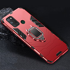 Silicone Matte Finish and Plastic Back Cover Case with Magnetic Finger Ring Stand for Realme 7i Red