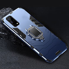 Silicone Matte Finish and Plastic Back Cover Case with Magnetic Finger Ring Stand for Realme V5 5G Blue