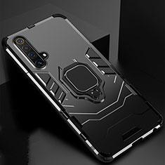 Silicone Matte Finish and Plastic Back Cover Case with Magnetic Finger Ring Stand for Realme X3 Black