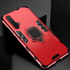 Silicone Matte Finish and Plastic Back Cover Case with Magnetic Finger Ring Stand for Realme X3 Red