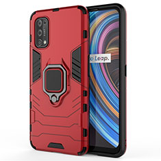 Silicone Matte Finish and Plastic Back Cover Case with Magnetic Finger Ring Stand for Realme X7 Pro 5G Red