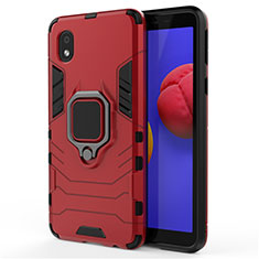 Silicone Matte Finish and Plastic Back Cover Case with Magnetic Finger Ring Stand for Samsung Galaxy A01 Core Red