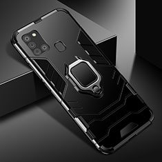 Silicone Matte Finish and Plastic Back Cover Case with Magnetic Finger Ring Stand for Samsung Galaxy A21s Black
