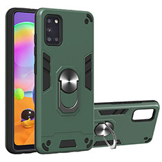 Silicone Matte Finish and Plastic Back Cover Case with Magnetic Finger Ring Stand for Samsung Galaxy A31 Green