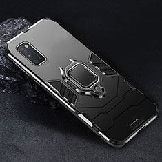 Silicone Matte Finish and Plastic Back Cover Case with Magnetic Finger Ring Stand for Samsung Galaxy A41 Black
