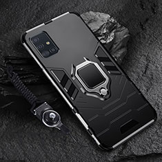Silicone Matte Finish and Plastic Back Cover Case with Magnetic Finger Ring Stand for Samsung Galaxy A71 5G Black