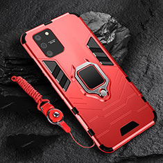 Silicone Matte Finish and Plastic Back Cover Case with Magnetic Finger Ring Stand for Samsung Galaxy S10 Lite Red