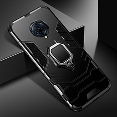 Silicone Matte Finish and Plastic Back Cover Case with Magnetic Finger Ring Stand for Vivo Nex 3 Black