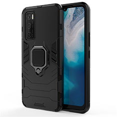 Silicone Matte Finish and Plastic Back Cover Case with Magnetic Finger Ring Stand for Vivo V20 SE Black