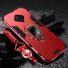 Silicone Matte Finish and Plastic Back Cover Case with Magnetic Finger Ring Stand for Vivo X50 Lite Red