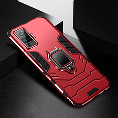 Silicone Matte Finish and Plastic Back Cover Case with Magnetic Finger Ring Stand for Vivo X51 5G Red