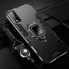 Silicone Matte Finish and Plastic Back Cover Case with Magnetic Finger Ring Stand for Vivo Y20s Black