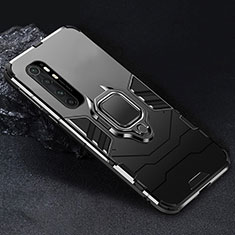 Silicone Matte Finish and Plastic Back Cover Case with Magnetic Finger Ring Stand for Xiaomi Mi Note 10 Lite Black