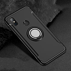 Silicone Matte Finish and Plastic Back Cover Case with Magnetic Finger Ring Stand for Xiaomi Redmi 6 Pro Black