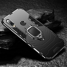 Silicone Matte Finish and Plastic Back Cover Case with Magnetic Finger Ring Stand for Xiaomi Redmi 7 Black