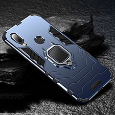 Silicone Matte Finish and Plastic Back Cover Case with Magnetic Finger Ring Stand for Xiaomi Redmi 7 Blue