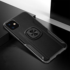 Silicone Matte Finish and Plastic Back Cover Case with Magnetic Finger Ring Stand R01 for Apple iPhone 11 Black