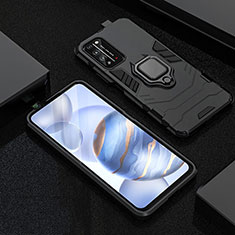 Silicone Matte Finish and Plastic Back Cover Case with Magnetic Finger Ring Stand R01 for Huawei Honor X10 5G Black