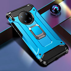 Silicone Matte Finish and Plastic Back Cover Case with Magnetic Finger Ring Stand R01 for Huawei Mate 30 Blue