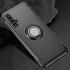 Silicone Matte Finish and Plastic Back Cover Case with Magnetic Finger Ring Stand R01 for Huawei Nova 5T Black