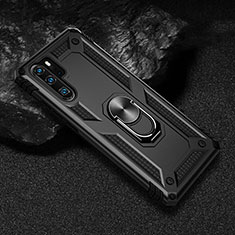 Silicone Matte Finish and Plastic Back Cover Case with Magnetic Finger Ring Stand R01 for Huawei P30 Pro Black