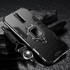 Silicone Matte Finish and Plastic Back Cover Case with Magnetic Finger Ring Stand R01 for OnePlus 8 Black