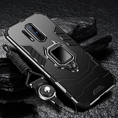Silicone Matte Finish and Plastic Back Cover Case with Magnetic Finger Ring Stand R01 for OnePlus 8 Pro Black