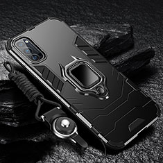 Silicone Matte Finish and Plastic Back Cover Case with Magnetic Finger Ring Stand R01 for Oppo Reno4 Pro 5G Black