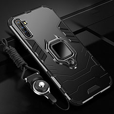 Silicone Matte Finish and Plastic Back Cover Case with Magnetic Finger Ring Stand R01 for Realme X50 Pro 5G Black