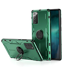 Silicone Matte Finish and Plastic Back Cover Case with Magnetic Finger Ring Stand R01 for Samsung Galaxy Note 20 5G Green
