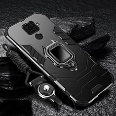 Silicone Matte Finish and Plastic Back Cover Case with Magnetic Finger Ring Stand R01 for Xiaomi Redmi 10X 4G Black