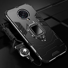 Silicone Matte Finish and Plastic Back Cover Case with Magnetic Finger Ring Stand R01 for Xiaomi Redmi K30 Pro Zoom Black