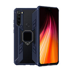 Silicone Matte Finish and Plastic Back Cover Case with Magnetic Finger Ring Stand R01 for Xiaomi Redmi Note 8 Blue