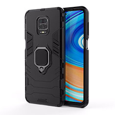 Silicone Matte Finish and Plastic Back Cover Case with Magnetic Finger Ring Stand R01 for Xiaomi Redmi Note 9 Pro Black