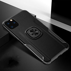 Silicone Matte Finish and Plastic Back Cover Case with Magnetic Finger Ring Stand R02 for Apple iPhone 11 Pro Black