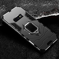 Silicone Matte Finish and Plastic Back Cover Case with Magnetic Finger Ring Stand R02 for Samsung Galaxy S10e Black