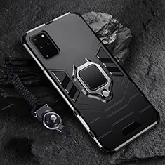 Silicone Matte Finish and Plastic Back Cover Case with Magnetic Finger Ring Stand R02 for Samsung Galaxy S20 Plus 5G Black