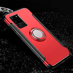 Silicone Matte Finish and Plastic Back Cover Case with Magnetic Finger Ring Stand R03 for Samsung Galaxy S20 Ultra 5G Red