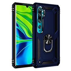 Silicone Matte Finish and Plastic Back Cover Case with Magnetic Finger Ring Stand R03 for Xiaomi Mi Note 10 Blue