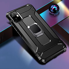 Silicone Matte Finish and Plastic Back Cover Case with Magnetic Finger Ring Stand R04 for Apple iPhone 11 Black