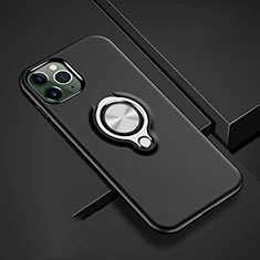 Silicone Matte Finish and Plastic Back Cover Case with Magnetic Finger Ring Stand R04 for Apple iPhone 11 Pro Black