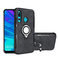 Silicone Matte Finish and Plastic Back Cover Case with Magnetic Finger Ring Stand R04 for Huawei Honor 20 Lite Black